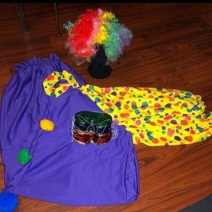 Halloween Clown Costume w/Wig Bundle